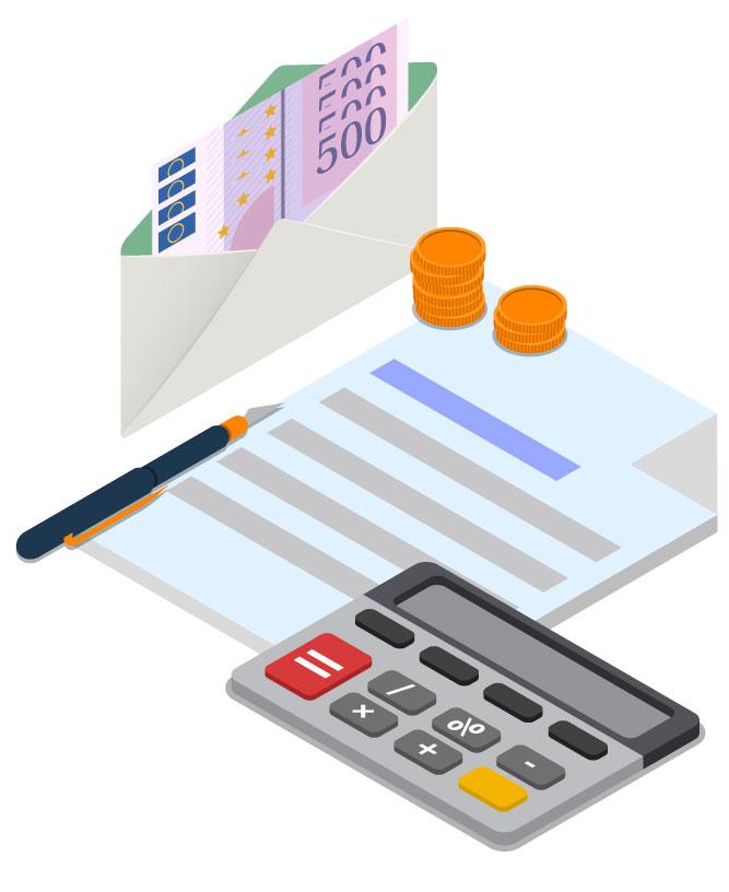 Illustration von Geld und Taschenrechner